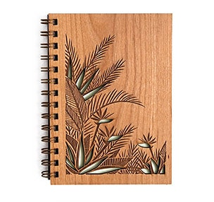 Wood laser engraving and cutting on notebook