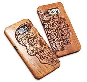 Wood laser engraving and cutting on phonecase